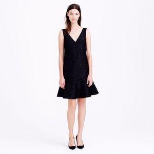 J. Crew Collection Black Floral Textured Dress